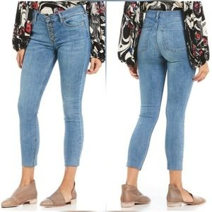 Free People Reagan Raw-Hem Front Button Jeans